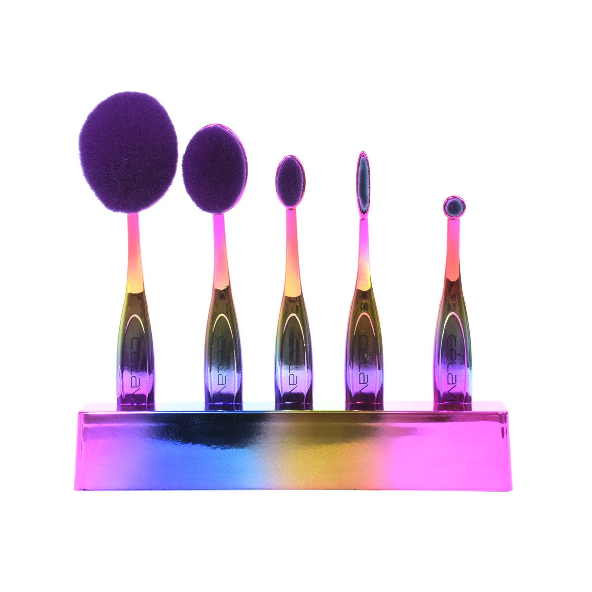 Celavi Oval Makeup Brush Professional Cosmetic Tools for Face, Foundation, Creams, Liquids, Moisturizer, Powder, Blush, Concealer, Contour-Beauty-Celavi Cosmetics-5 Brush Set-Rainbow-Celavi Cosmetics