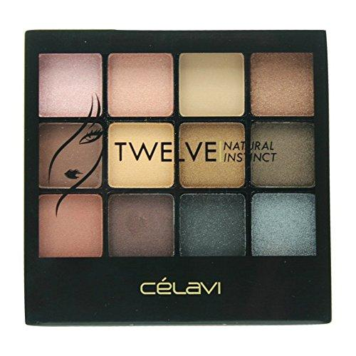 Celavi Twelve Eye Shadow Palette w/ Built in Mirror and Dual Headed Sponge Applicator-Beauty-Celavi Cosmetics-Natural-Celavi Cosmetics