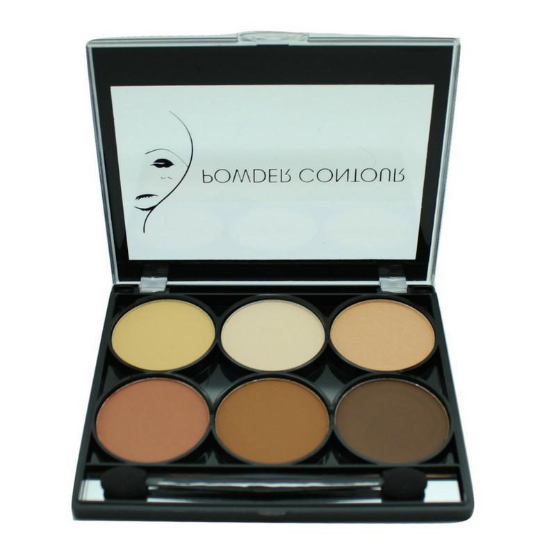 Contour and Highlight 6 Color Palette w/ Dual Headed Sponge and Built in Mirror Easy To Use Kit-Beauty-Celavi Cosmetics-Celavi Cosmetics