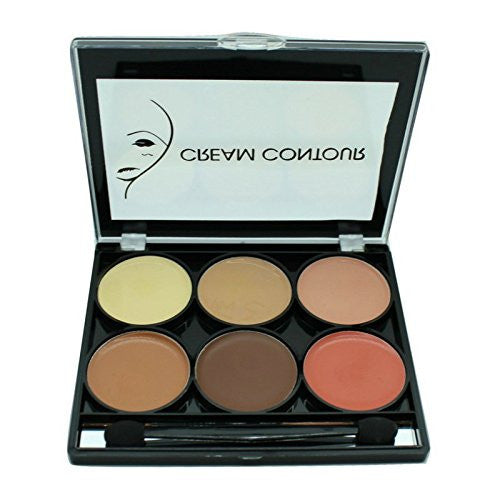 Contour and Highlight 6 Color Palette w/ Dual Headed Sponge and Built in Mirror Easy To Use Kit-Beauty-Celavi Cosmetics-Cream-Celavi Cosmetics