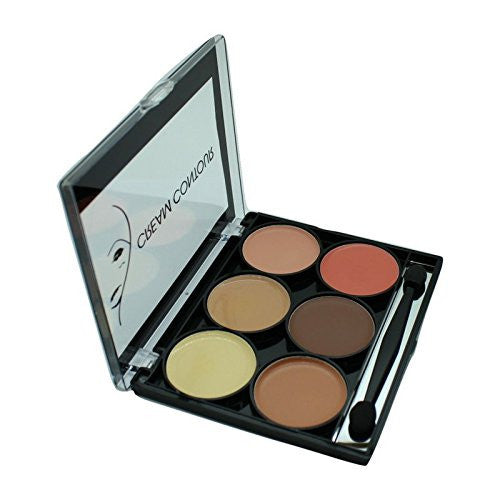 Contour and Highlight 6 Color Palette w/ Dual Headed Sponge and Built in Mirror Easy To Use Kit-Beauty-Celavi Cosmetics-Powder-Celavi Cosmetics