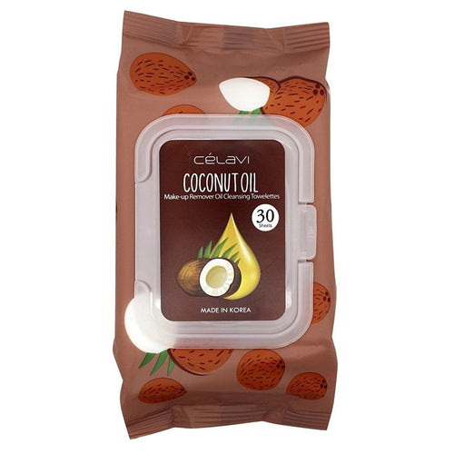 Deep Cleansing Oil Makeup Removing Towelettes 1 Pack - 30 Sheets-Beauty-Celavi Cosmetics-Coconut Oil-Celavi Cosmetics