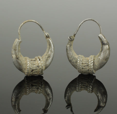 ANCIENT BYZANTINE SILVER EARRINGS - CIRCA - 12TH CENTURY AD (358)