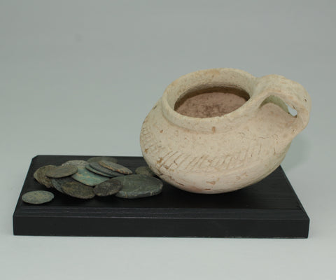 ROMAN POT & COIN HOARD DISPLAY - 2nd/3rd Century AD (212)