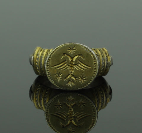 SUBSTANTIAL ANCIENT BYZANTINE SILVER RING WITH EAGLE - CIRCA 12TH CENTURY AD