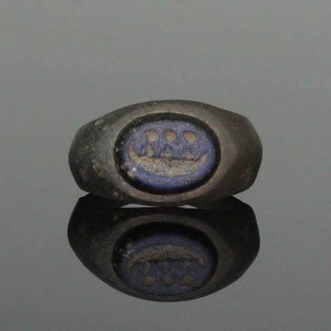 ANCIENT ROMAN BRONZE INTAGLIO RING GALLEY - 2nd Century AD (021)
