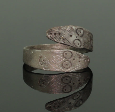 ANCIENT CELTIC SILVER SNAKE RING - 2nd Century AD