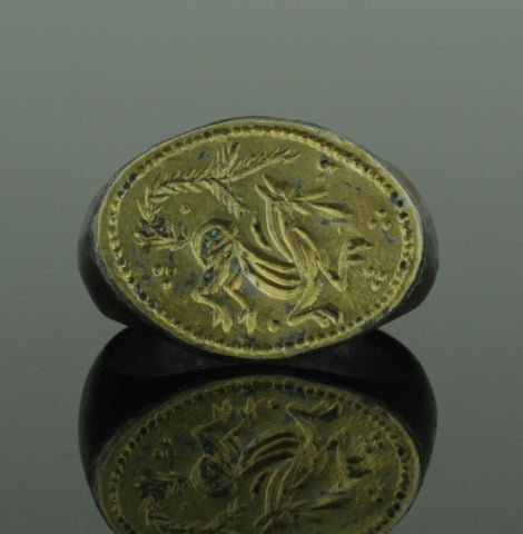 "BEAUTIFUL ANCIENT MEDIEVAL SILVER GILT RING ""MYTHICAL BEAST"" - CIRCA 15TH C AD"