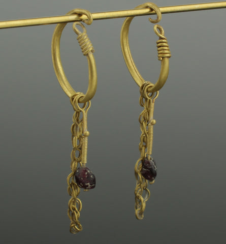 BEAUTIFUL LARGE ANCIENT ROMAN GOLD EARRINGS - CIRCA 2nd CENTURY AD (089)