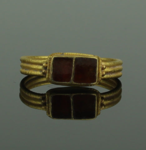ANCIENT MEROVINGIAN GOLD & GARNET RING - 5th/6th Century AD (209)