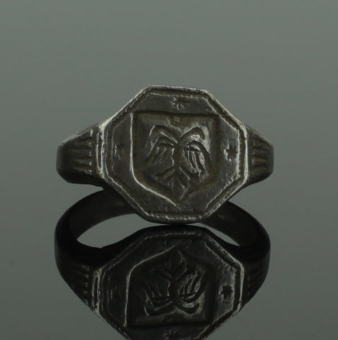 BEAUTIFUL ANCIENT MEDIEVAL SILVER RING WITH DOUBLE HEADED EAGLE - CIRCA 15TH C