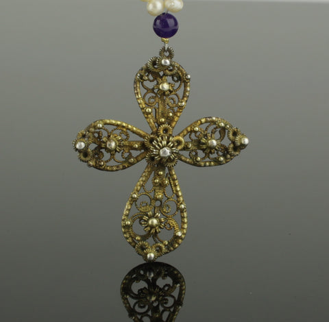 BEAUTIFUL POST MEDIEVAL SILVER GILT CROSS NECKLACE - DATING CIRCA - 16th Century