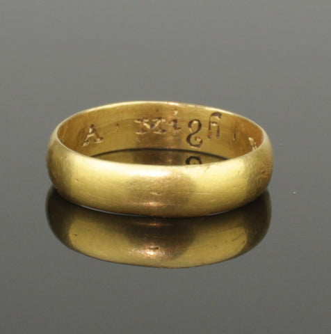 "BEAUTIFUL ANCIENT POST MEDIEVAL GOLD POSY RING - Circa 1650  ""A MIGH FOR A MILLYON"""