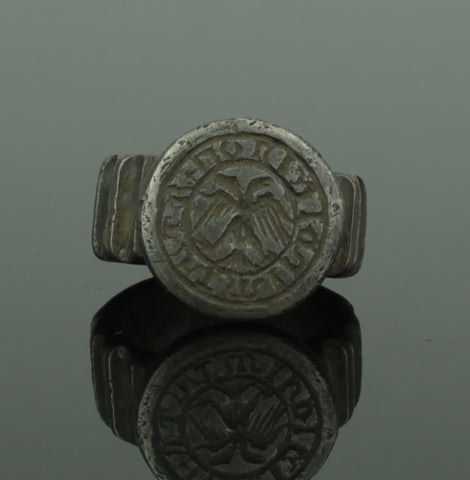 HUGE ANCIENT MEDIEVAL SILVER RING WITH EAGLE - CIRCA 15TH C AD