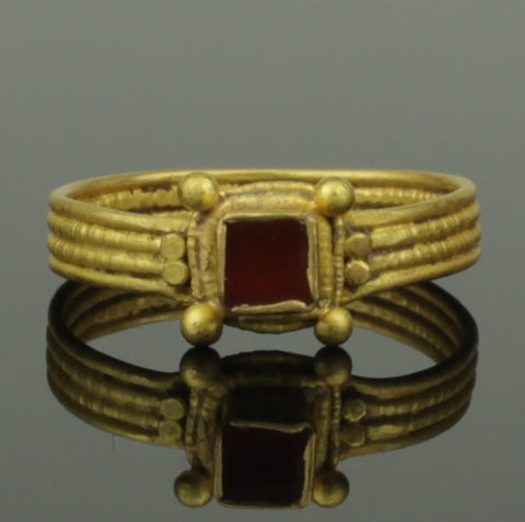 ANCIENT MEROVINGIAN GOLD & GARNET RING - MIGRATION PERIOD 6th/7th Century AD