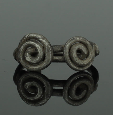 ANCIENT VIKING DOUBLE SPIRAL SILVER RING - CIRCA 9th/10th CENTURY (009)