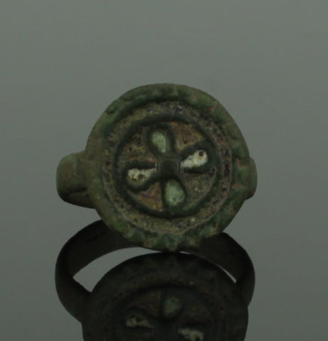 ANCIENT BYZANTINE BRONZE CROSS RING - 6th-9th Century AD (224)