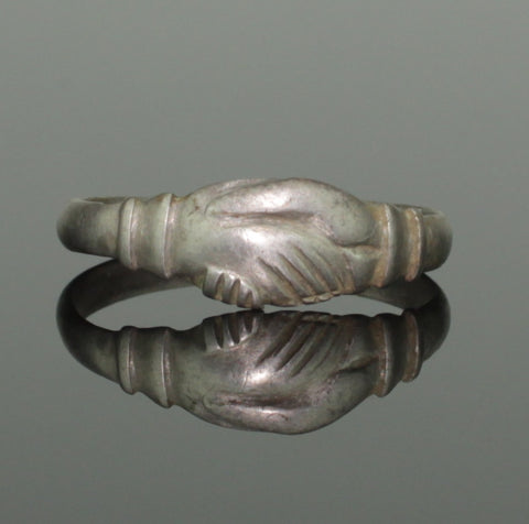 "ANCIENT MEDIEVAL SILVER ""FEDE"" MARRIAGE RING - CIRCA 15TH C AD (987)"