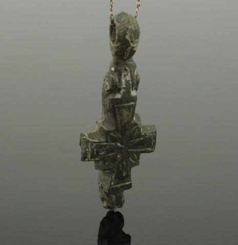 LOVELY BYZANTINE BRONZE RELIQUARY CROSS CIRCA 6TH-12TH CENTURY AD 899