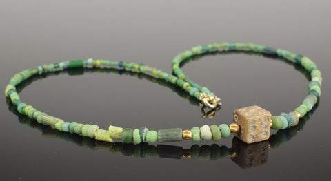 BEAUTIFUL ANCIENT ROMAN DIE & GLASS BEAD NECKLACE - CIRCA 2nd Century AD 004