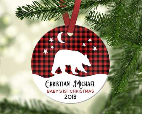Buffalo Plaid Bear Baby's First Christmas Ornament