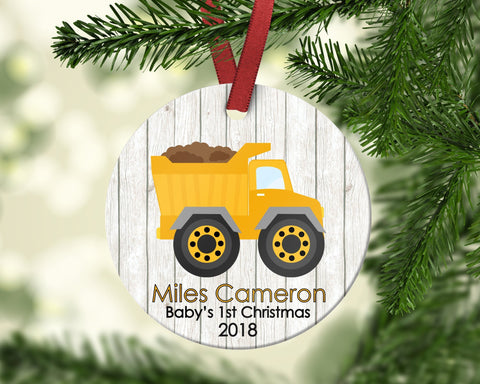 Baby's First Christmas Dump Truck Christmas Ornament