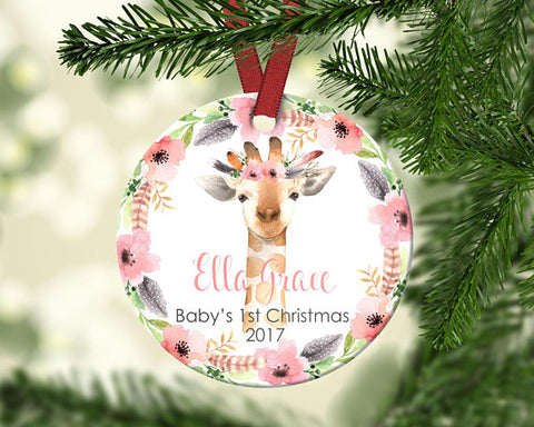 Baby Giraffe First Christmas Ornament. Personalized