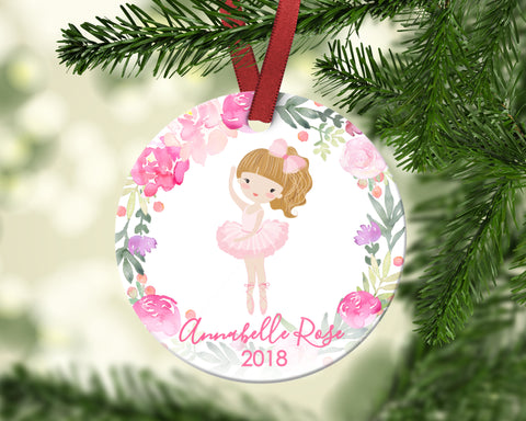 Girl's Christmas ornament. Ballerina. Personalized