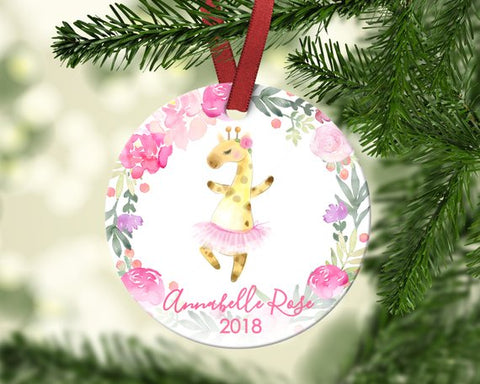 Girl's Christmas ornament. Giraffe dancing. Personalized