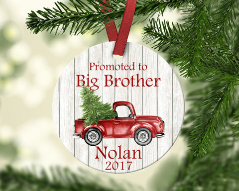 Big Brother Christmas Ornament. Promoted To Big Brother. Personalized