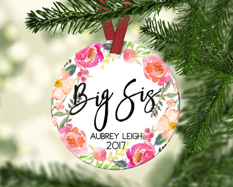 Big Sister Christmas Ornament. Promoted To Big Sister. Personalized