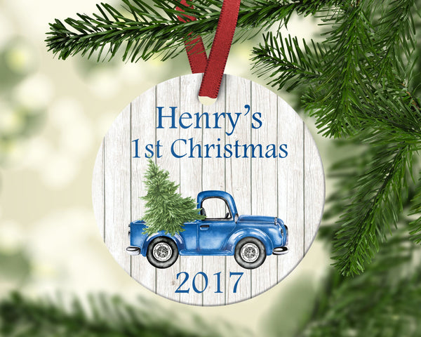 Baby's first Christmas ornament. Vintage truck. Personalized
