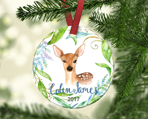 Boy's Christmas Ornament. Deer. Personalized
