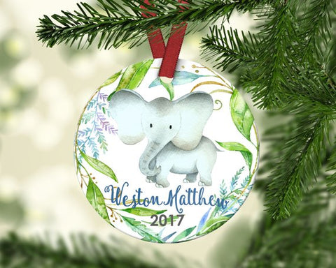 Boy's Christmas ornament. Baby Elephant. Personalized