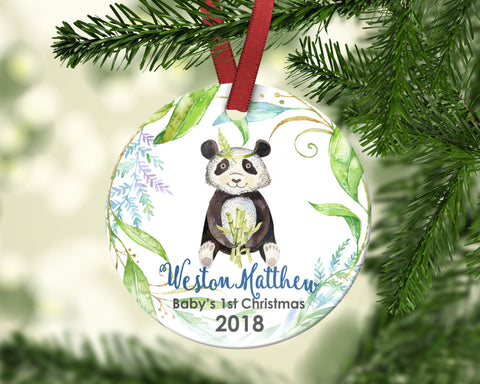 Baby's First Christmas Ornament. Panda. Personalized