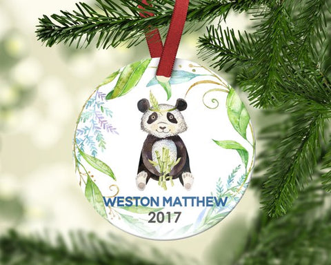 Kid's Christmas Ornament. Panda. Personalized