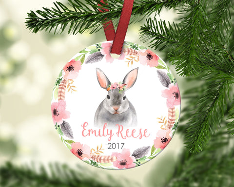 Girl's Christmas ornament. Baby Bunny. Personalized