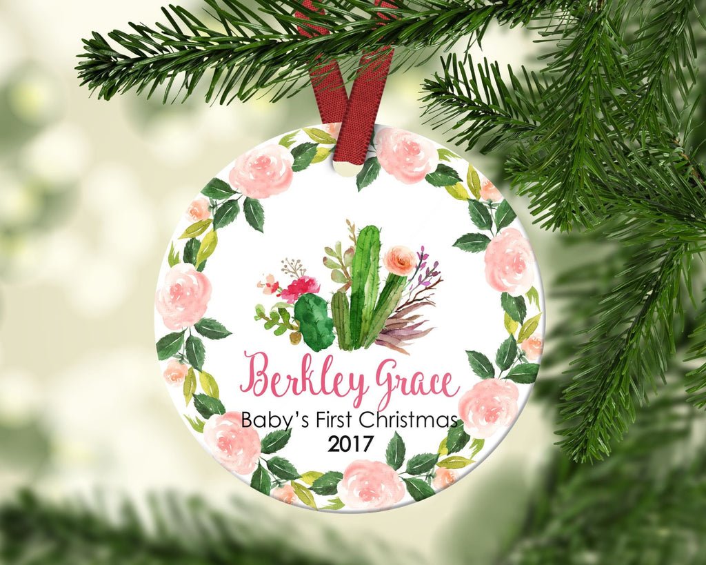 Baby's First Christmas ornament. Cactus. Personalized