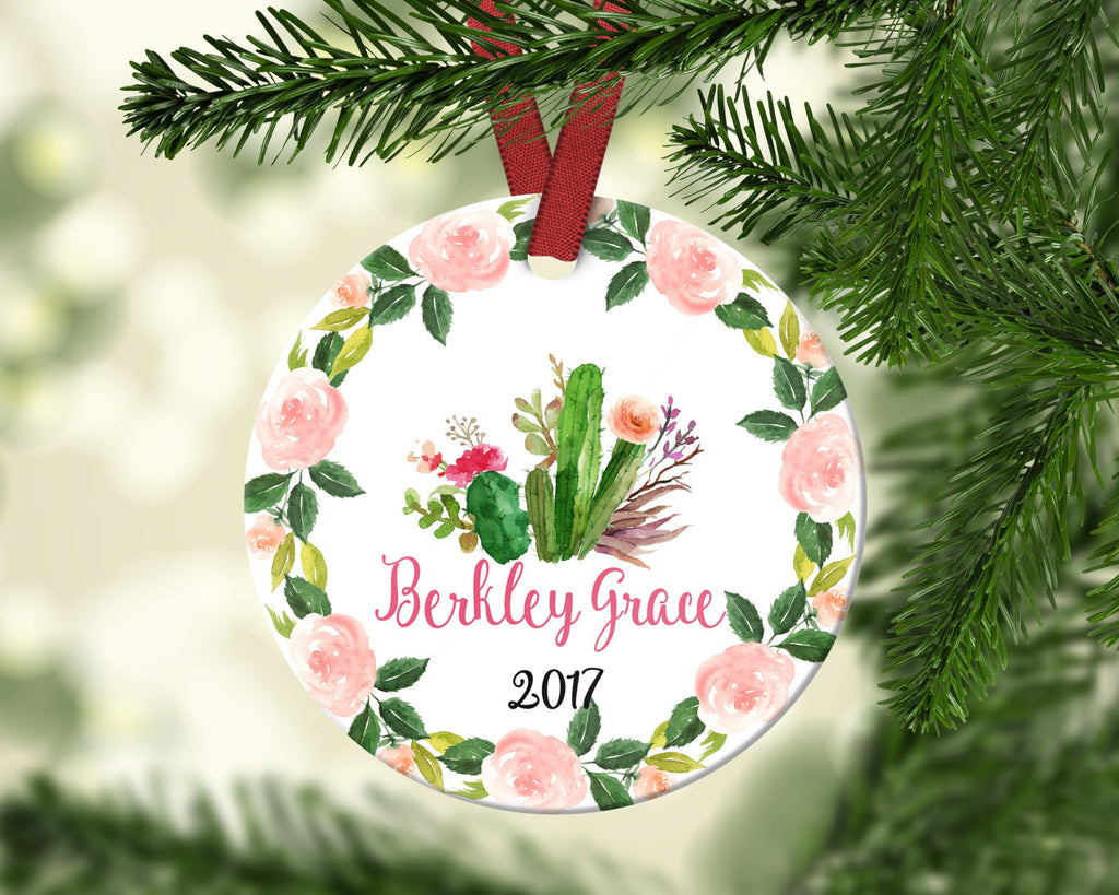 Girl's Christmas ornament. Cactus. Personalized