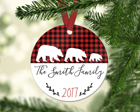 Family Christmas Ornament. Bears. Personalized