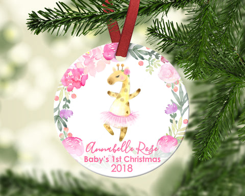 Baby's first Christmas ornament. Baby Giraffe. Personalized