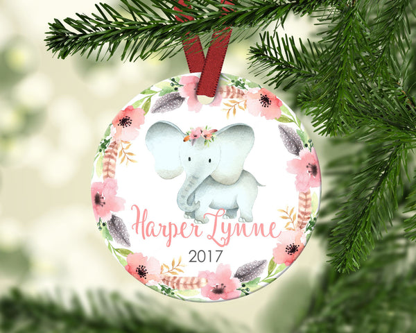 Girl's Christmas ornament. Baby Elephant. Personalized