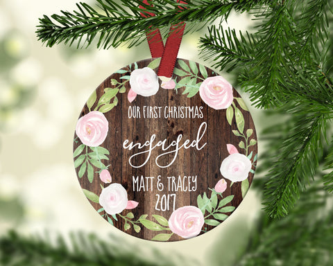 First Christmas Engaged Christmas Ornament. Personalized