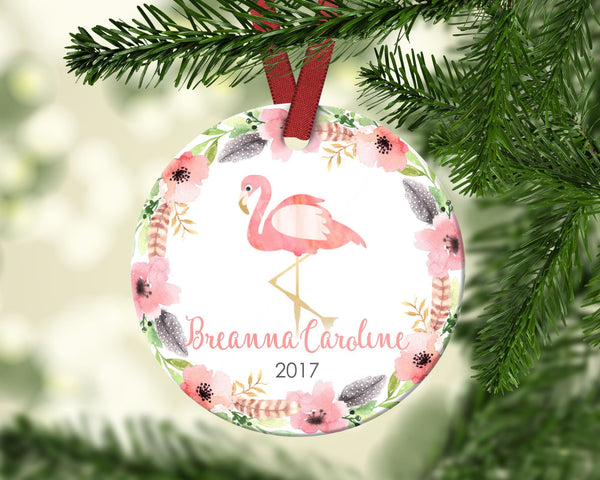 Girl's Christmas ornament. Flamingo. Personalized