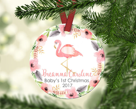 Baby's first Christmas ornament. Flamingo. Personalized