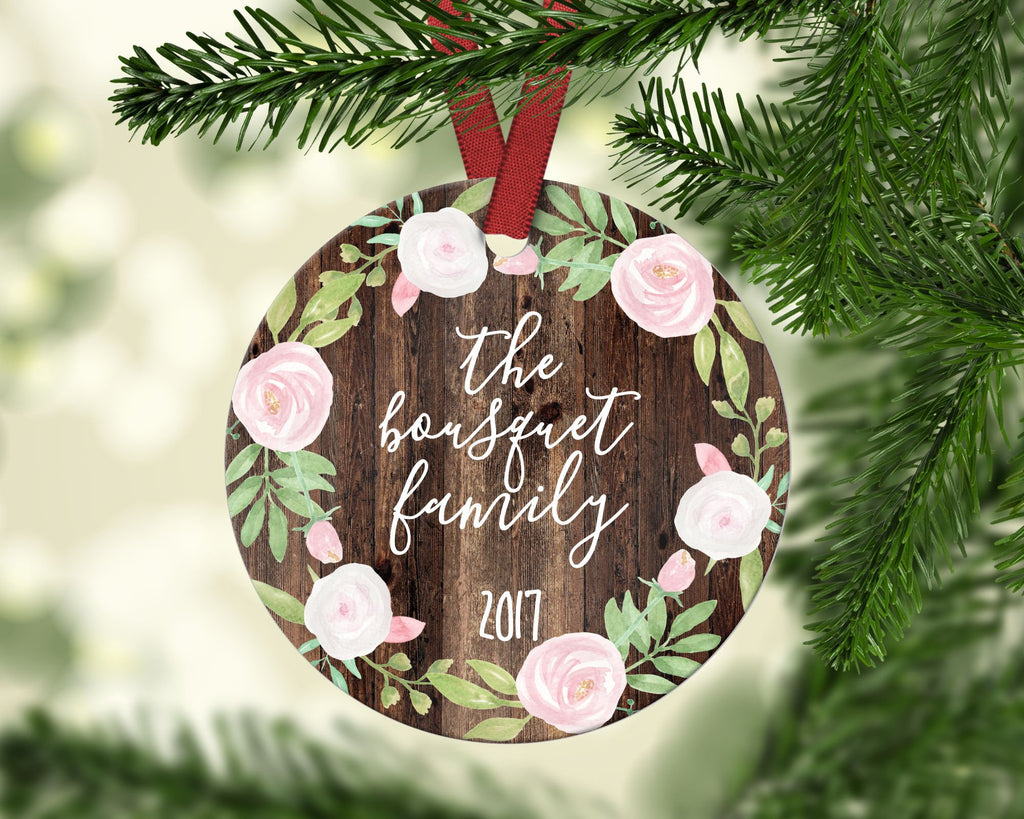 Family Christmas ornament. Floral. Personalized
