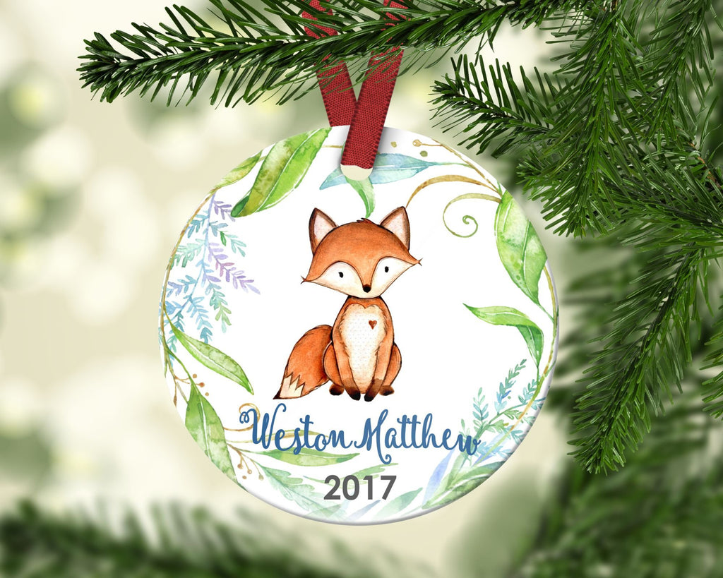 Boy's Christmas ornament. Baby Fox. Personalized