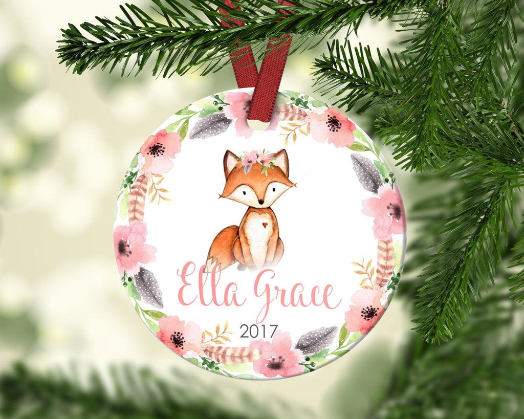 Girl's Christmas ornament. Baby Fox. Personalized