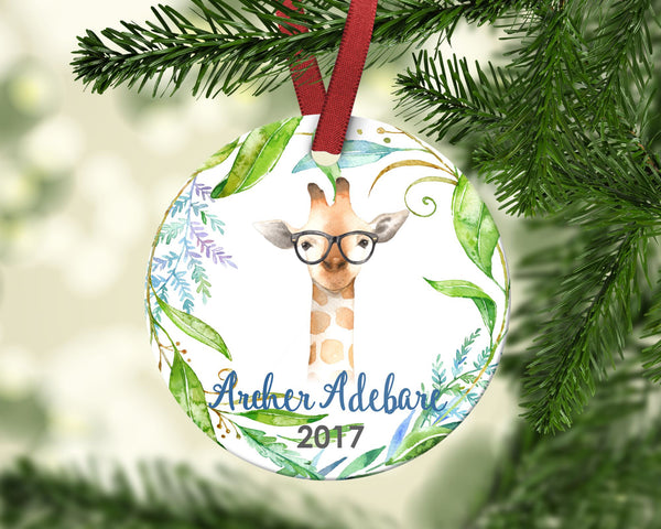 Boy's Christmas Ornament. Giraffe. Personalized