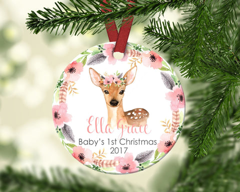 Baby's first Christmas ornament. Baby Deer. Personalized
